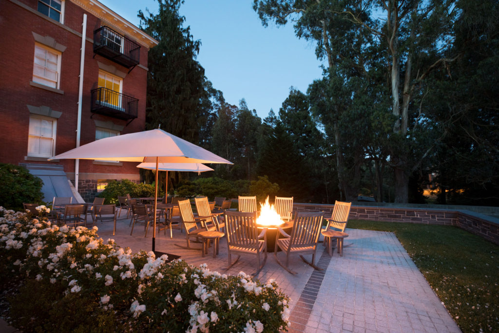 Inn at the Presidio - Fire Pit and Patio At Night