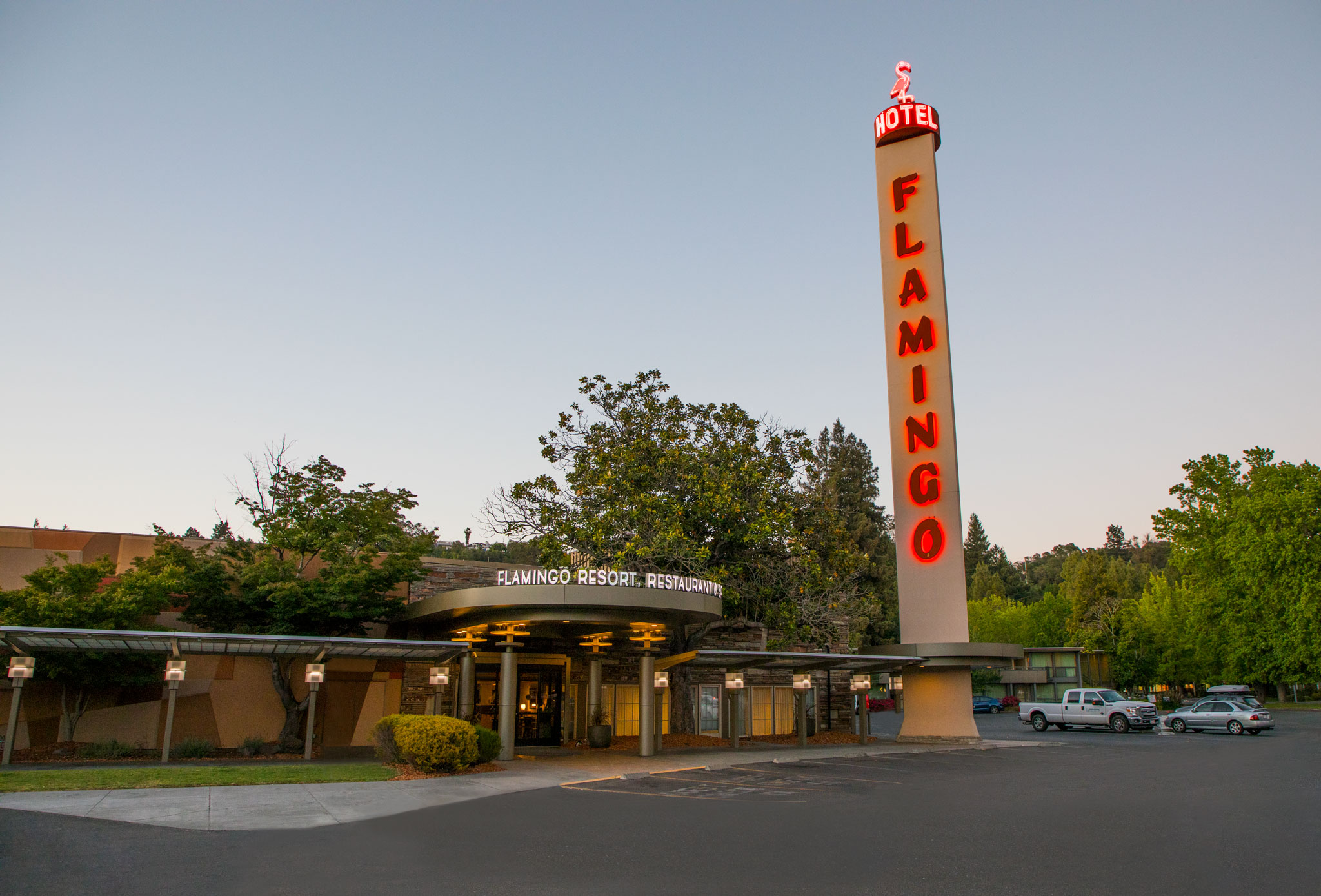 Flamingo Resort Front Entrance And Parking Lot